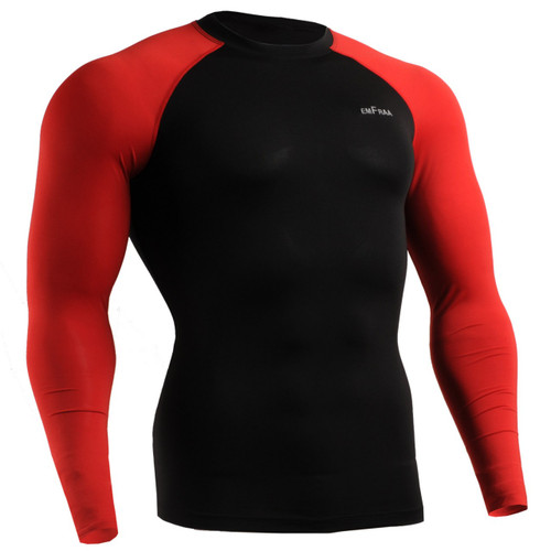 emfraa compression wear skin tight shirt black-red