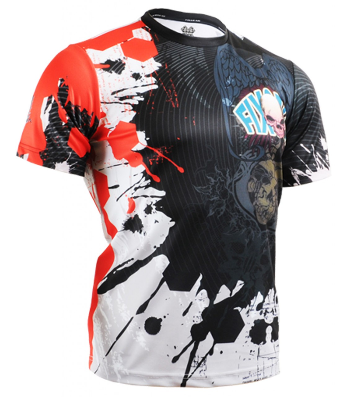 Design t shirt badminton - Unique Skull Design Fixgear Round Black Tshirt Provide Best Condition Cool And Dry For All In Outdoor Activities