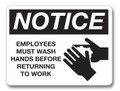 IS8001-16 Black - Employees Must Wash Hands Before Returning to Work