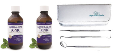 Tooth and Gums Tonic 18 Oz. Pack of 2 Bottles + 3-Piece Dental Hygiene Kit