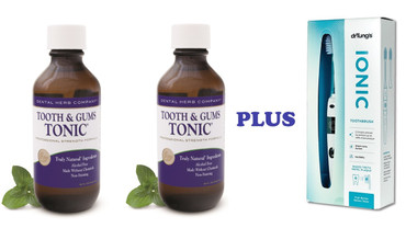 Tooth & Gums Tonic 2 Bottles and Dr. Tung's Ionic Toothbrush