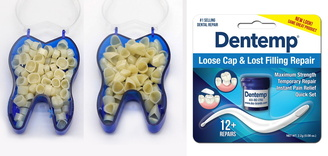 100 Dental Temporary Crown Front & Molar Kit + Dentemp Temporary Cement