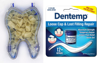 Dental Temporary Crown Kit Anteriors Box/50 + Dentemp Temporary Cement
