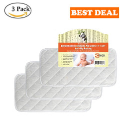 "Quilted Non-Slide Bamboo Changing Pad Liners 3/PACK – 28"" x 14"""