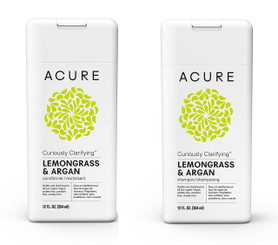Acure Curiously Clarifying Lemongrass Shampoo-Conditioner Set 12 OZ each bottle