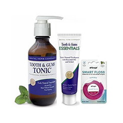 Dental Herb Company Tooth & Gums NEW Essentials Paste, Tonic 18 OZ, Pump PLUS Dr. Tung's Smart Floss 30 Yd.