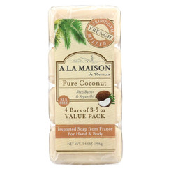 A La Maison Bar Soap - Pure Coconut - 4/3.5 Oz
