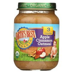 Earth's Best Organic Apple Cinnamon Oatmeal Baby Food - Stage 3 - Case Of 12 - 6 Oz.