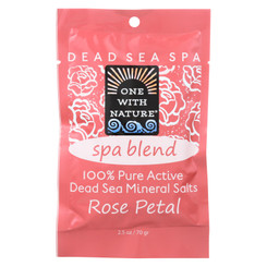 One With Nature Spa Blend Rose Petal Dead Sea Mineral Bath - Salt - Case Of 6 - 2.5 Oz.