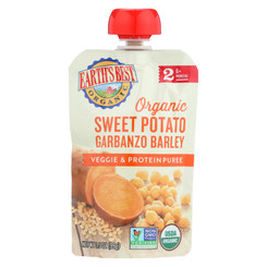 Earth's Best Organic Sweet Potato Garbanzo Barley Veggie And Protein Puree - Stage 2 - Case Of 12 - 3.5 Oz.