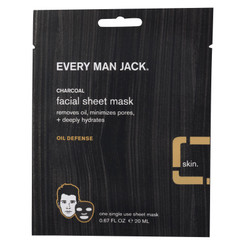 Every Man Jack Face Mask - Activated Charcoal Facial Sheet Mask - Case Of 6 - .67 Oz.