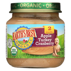 Earth's Best Organic Apple Turkey Cranberry Baby Food - Stage 2 - Case Of 12 - 4 Oz.