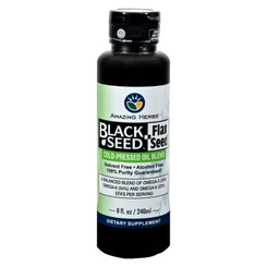 Amazing Herbs - Black Seed Oil Blend - Flax Seed Oil - 8 Oz