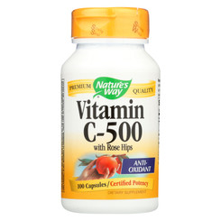 Nature's Way - Vitamin C-500 With Rose Hips - 500 Mg - 100 Capsules