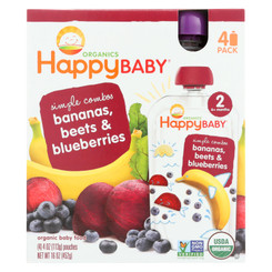Happy Baby Food - Organic - Simple Combos - Bananas Beets And Blueberries - 6 Plus Months - Stage 2 - 3.5 Oz - Case Of 16