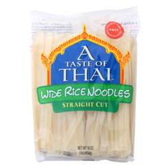 A Taste Of Thai Straight Cut Wide Rice Noodles  - Case Of 6 - 16 Oz