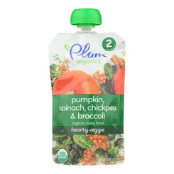 Plum Organics Second Blends Hearty Veggie Meal - Spinach Pumpkin And Chickpea - Case Of 6 - 3.5 Oz.