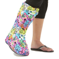 One of our best selling designs, Peace of Fun is shown here on a High Top orthotic walking boot.