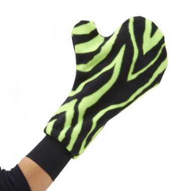 Warm your hand from cold temperatures even when wearing a hand/wrist brace or cast with Mittz! Cozy. Shown here in sassy Zebra Zing!