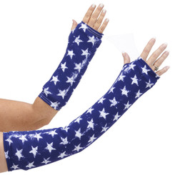 Long and short arm cast cover in deep blue with patriotic stars.