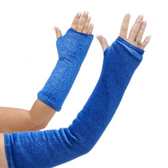 Long and short arm cast cover in a lux blue velvet material with silver sparkles.