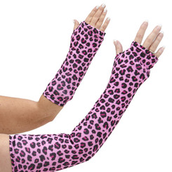 Long and short arm cast cover in a fun animal print with black and berry pink spots on a pink background.