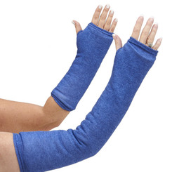 Long and short arm cast cover in a soft and stretchy denim-looking fabric with a casual vibe.