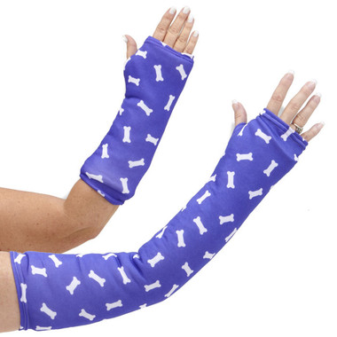 Long and short arm cast cover with white dog bones on a rich purple background.