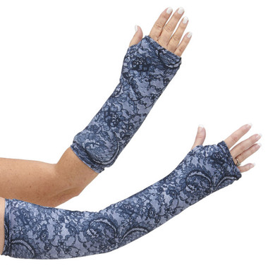 Long and short arm cast cover that looks like black lace, but is actually a printed design.