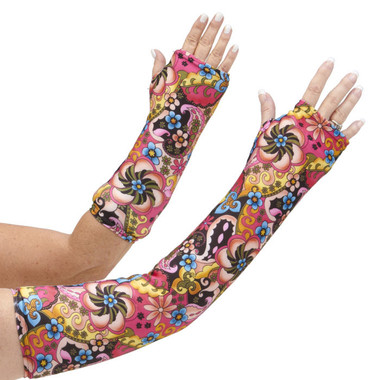 Long and short arm cast cover in a swirl of yellows, pinks, and blues.  One of our most popular designs.