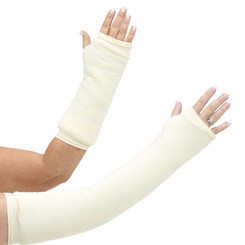 Long and short arm cast cover in a classic ivory, off-white solid color.