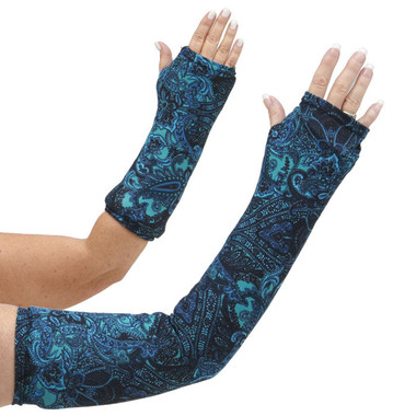 Long and short arm cast cover in rich shades of teal and black in a classic paisley pattern.