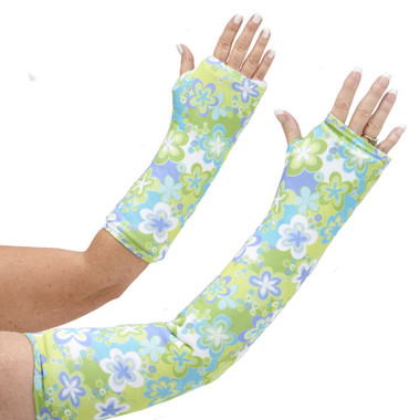 Escape to a tropical paradise with our long and short arm cast cover covered in flowers in greens, blues, and yellows.