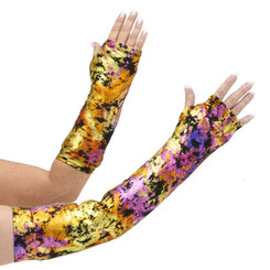 Long and short arm cast cover in metallic golds, purples, pinks with black accents.