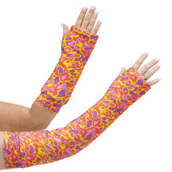 Our long and short arm cast cover in a abstract psychedelic combination of oranges, yellows, pinks and purples.  Groovy.