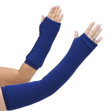 Our long and short arm cast cover in classic navy blue.  This color goes well with jeans as well as most office and professional attire.