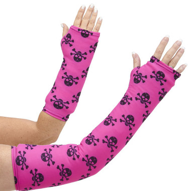 Trend up your arm cast cover with black skulls on a deep pink background. Not just for Halloween, anymore! Available in long and short arm styles.