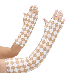 Arm cast cover in a classic tartan design of white and beige with pink accents. Available in long and short arm styles.
