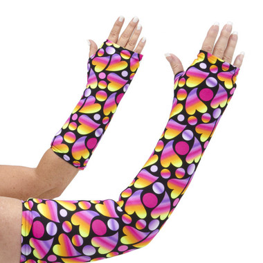 This arm cast cover will bring smiles to you and others as the whimsical hearts in sherbet hues of yellow, pink, and purple dance on a black background. Black background hides the dirt! Available in long and short arm styles.