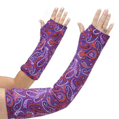 A paisley purple design with coordinating orange in an arm cast cover means happy healing! Available in long and short arm styles.
