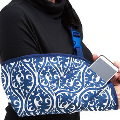 Navy Scroll back by popular demand!  PLEASE NOTE: the camera picks up this fabric much bluer than it really is.  The actual fabric has a slight but beautiful distressed look and the blue is definitely in the navy family.  As shown with optional Navy trim and cell phone pocket.
