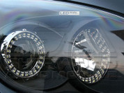 I30 Black Bezel Headlights w/2 Way LED Angel Eyes