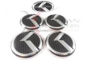 2012+ Rio Pride Hatchback CARBON VIP K 5pc Package Wheel Caps + Steering Wheel Emblem