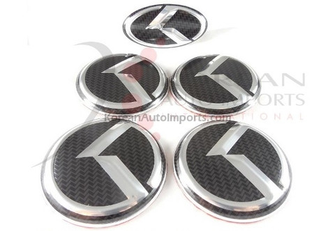 2012+ Rio Pride Hatchback CARBON VIP K 5pc Package Wheel Caps + Steering Wheel Emblem