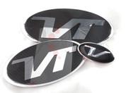 "Veloster Loden ""VT"" Turbo Badge Emblem Grill Trunk Steering 3pc"