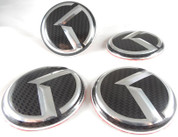 "2016+ Rio 5dr Hatchback LODEN Carbon/3D ""K""  Wheel Cap Emblem Overlay Set 4pc"