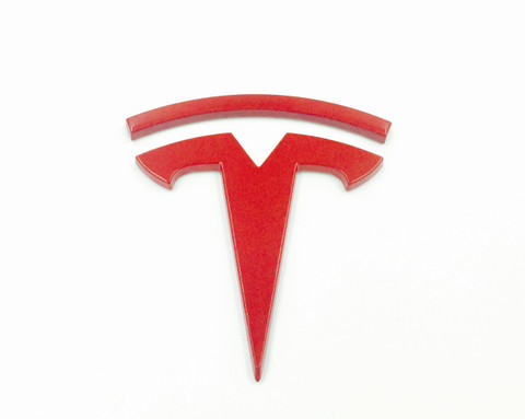 T Badge For Tesla Model S Model X Model 3 Red Tesla Emblem