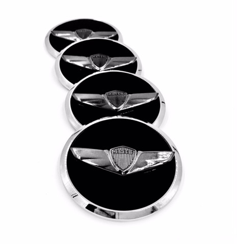 Vision G Concept style black chrome Genesis Wing Wheel Caps Premium Sedan Coupe G60 G70 G80 G90 2009 2010 2011 2012 2013 2014 2015 2016 2017 2018