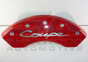 """Genesis """"COUPE"""" Engraved RED MGP Caliper Covers 4pc 2010 2011 2012 2013 2014 2015 2016 V6 or 2.0 model"""