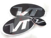 "Veloster Loden ""VT"" Turbo Badge Emblem Grill Trunk Steering 3pc"